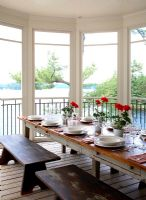 Country dining room views over water