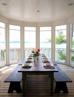 Country dining room with views over lake