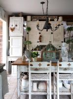 Country kitchen with distressed furniture