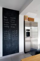 Feature wall painted in blackboard paint