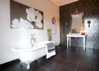 Modern bathroom with patterned tiled wall