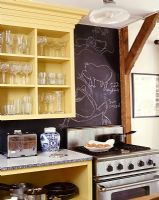 Kitchen shelving and oven