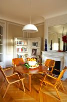 Retro chairs and table in classic dining room