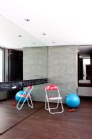 Contemporary playroom with mirrored wall