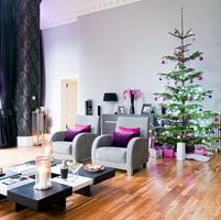 Contemporary living room decorated for Christmas