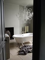 Bathroom with wirework chandelier