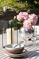Flower arrangement on garden table