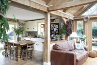 Country style living room and kitchen