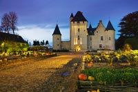 Potager and Chateau du Riveau lit up at night