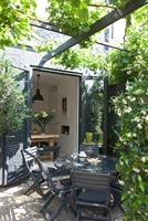Patio garden with scented climbing plants