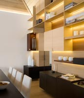 Feature wall in modern dining room