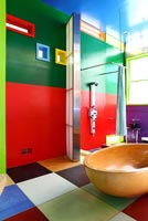 Colourful bathroom in conceptual house