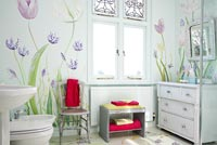 Floral mural on bathroom walls