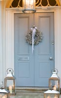 Grey front door with wreath of Gypsophila - Baby's Breath
