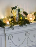 Decorative mantlepiece with Roses and candles