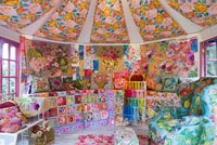 Inside of shed decorated by Kaffe Fassett with needlepoint designs- RHS Chelsea Flower Show 2012