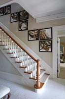 Classic staircase with display of modern art