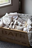Toiletries in wooden crate