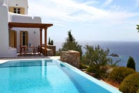 Greek villa and pool with sea view