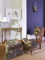 Floral chair and pouffe