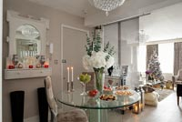 Modern dining room decorated for Christmas