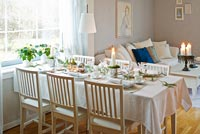 Open plan living and dining room decorated for Christmas