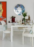 Classic white dining table and chairs