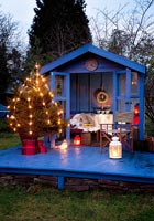 Summerhouse decorated for christmas