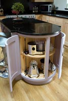 Pink kitchen island unit