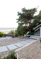 Minimal gravel garden overlooking sea