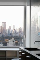 City view from contemporary bathroom