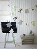 Childrens playroom decorated with bunting