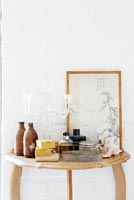 Toiletries on console table