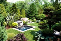 Formal country garden with small pond