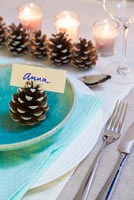 Step by Step guide for painting pine cones for a simple table decoration - finished cones being used as a place setting