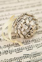 Step by Step guide for making paper cones using music sheet paper - finished bauble