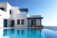 Traditional greek house and swimming pool