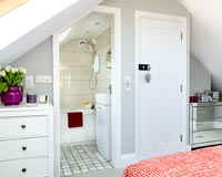 Modern bedroom with ensuite bathroom