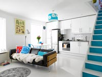Colourful open plan apartment