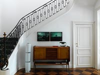 Retro sideboard under stairs
