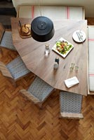Modern dining table from above