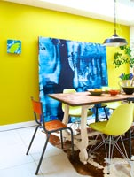 Colourful dining room with abstract painting by Ylva
