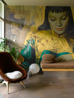 Contemporary living room with mural