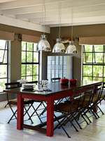Red dining table