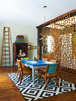 Colourful dining room with vintage furniture