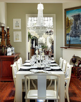 Dining table set for entertaining