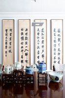 Oriental art and accessories in dining room