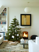 Modern living room decorated for christmas