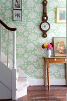 Floral wallpaper in hall