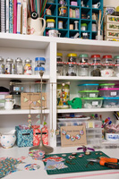 Crafts materials on shelves